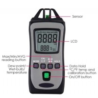 TM-730 Digital Pocket Size Thermo-Hygrometer Temperature Meter Humidity Tester with Wet Bulb and Dew Point Measurement